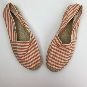 Soludos Classic orange & white striped espadrilles